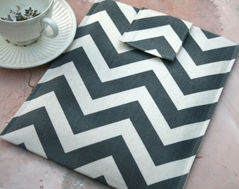 Kindle Case, Kindle Sleeve, Nook Case, Ereader Sleeve, Cover in Chevron Stripe, Gadget Cases and Covers, Ereader Accessories in Grey Chevron