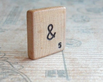Vintage Blank Scrabble Tile .. Customize your own letter and value .. Hand stamped and inked .. Awesome wedding gift .. engraved keepsake