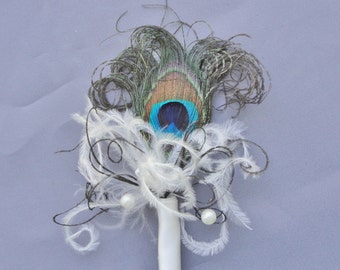 Peacock Feather Boutonniere Ivory With Beads And Crystals It Can Customized With Your Colors