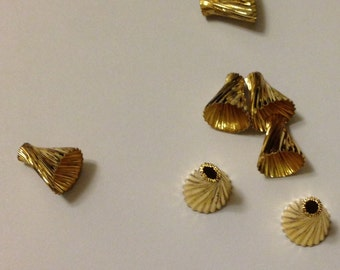 15 pieces of plated in gold tone vintage raw brass bead cap with 8mm opening 8.5 mm tall crimp fold twisted
