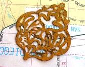 Ethnic pendant, jewelry pendant, large damask filigree MUSTARD yellow focal jewelry finding 2 pcs