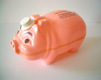 Vintage Plastic Pink Piggy Bank with Moveable Hat