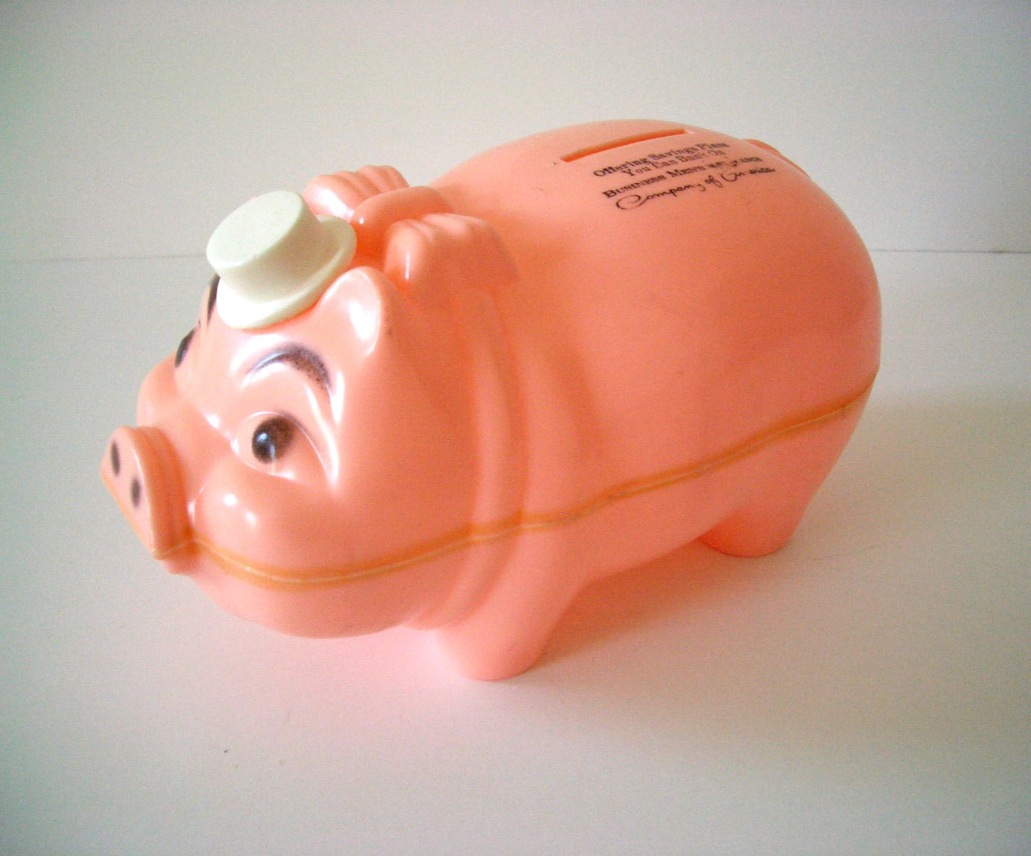 Vintage plastic pink piggy bank with moveable hat - Resin piggy banks ...