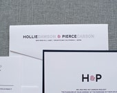 Modern Monogram Invitation, Black Wedding Invitation, Red Invitation,  Contemporary Wedding Invitation Suite - Custom - Hollie and Pierce