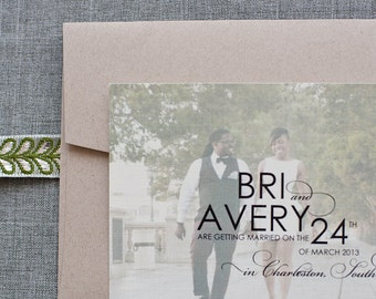 Elegant Photo Wedding Save The Date, Engagement Photo, Engagemnt Card, Photo Save the Date - Bri and Avery