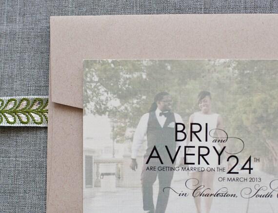 Elegant Photo Wedding Save The Date, Engagement Photo, Engagemnt Card, Photo Save the Date - Bri and Avery