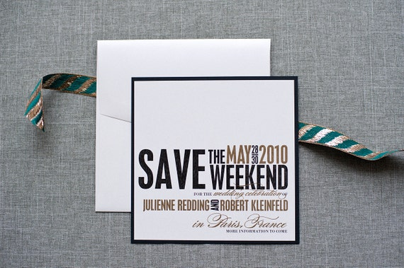 Wedding Weekend Save the Date, Black and Gold Wedding Save the Date, Square Save the Date  - Julienne and Robert