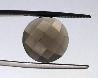 Smoky Quartz 14mm round checker cut gem                                                            068-08-011
