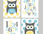 SALE 50% OFF -  Owl, alphabet, and numbers - set of four - nursery baby shower gift - choose your color - digital prints - 8x10 on A4
