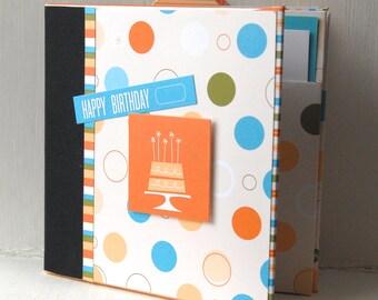 SALE CHILD'S BIRTHDAY themed mini scrapbook album Pre Made Mini Album-just add photos