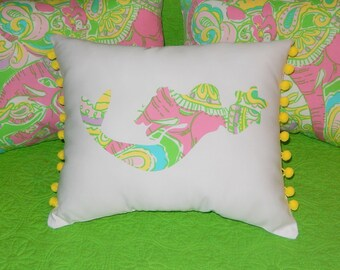 New Mermaid Pillow made with AUTHENTIC new Lilly Pulitzer fabrics, your choice of over 30 prints