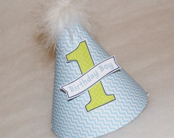 SALE!  Blue Chevron and Lime Green Dot Boys Party Hat