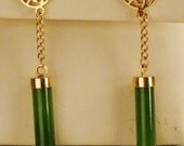 Asian JADE EARRINGS  Cylinders 1960s 1.5 inches  Pierced  goldtone old stock BRIDESMAIDS Gift