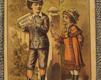 Victorian ad  TRADE Card Dunbarr's SHOES PHILADELPHIA   Young couple. chromolithograph app 4 x 3