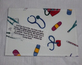 Grammy is a Nurse Quilted All Fabric Postcard Handmade by Customizedjust4you