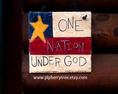 Americana and Patriotic - One Nation Under God - Hand Painted Decorative 7 x 9  Slate Sign