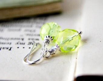 Czech Glass Earrings Chartreuse Neon Yellow Fluorescent Sterling Silver