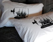 Ship in the Bottle Screen Printed Pillowcases
