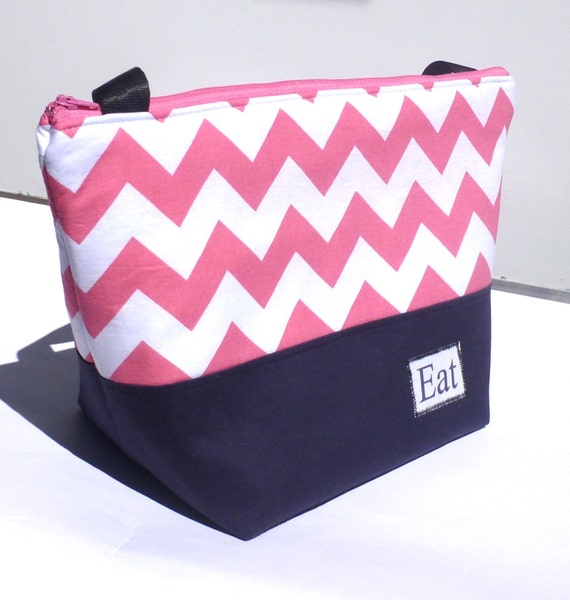 Insulated Lunch Bag Tote  Eco Friendly Zip Summer Pink Floss Chevron Lunch Bag by BonTons