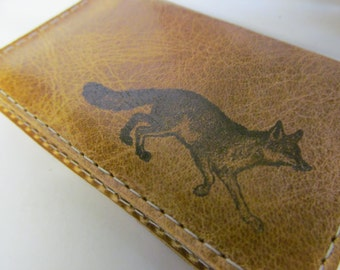 folding leather card wallet hand-printed custom free personalization