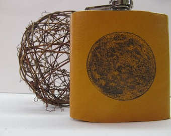 6 oz leather hip flask hand-print free customization