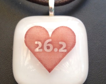 Marathon pendant 26.2 pendant -heart marathon fused glass necklace