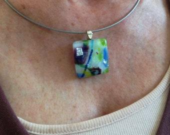 Fused glass pendant // Purple, blue, green and white fused glass pendant with dichroic accents // dichro pendant