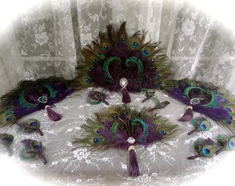 Peacock and Ostrich Feather Fan Bouquets in your choice of sizes and colors
