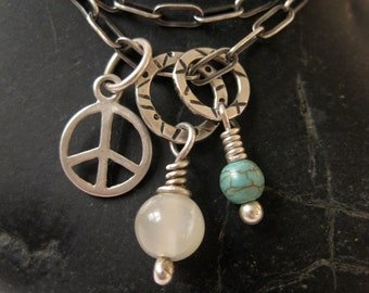 Moonstone Howlite Peace Long Sterling Cable Chain Necklace