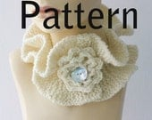 Knitting Pattern for Ruffled Neck Warmer with Crocheted Flower, Buttoned Ruffle Neckwarmer Instant Download PDF Pattern
