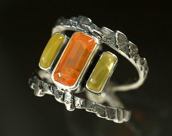 Cuttlefish Cast Sterling Silver Ring with Yellow and Fire Opal