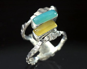 Cuttlefish Sterling Silver with Peruvian and Yellow Opal Cast Ring