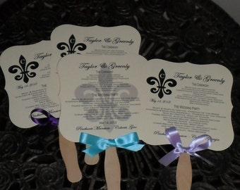 Fleur De Lis, Program, Fan, Wedding Fans with Program, Wedding Fan, Wedding Fan Program, Wedding Program, Fleur De Lis, 150 fans