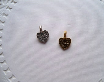 Sale - SILVER and GOLD Mini HEART Charms/Valentine Charms/Heart Charms/Mini Heart Charms