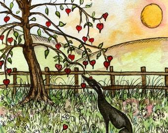 The Tree of Love - Valentine Greyhound Art Print