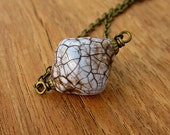 Lavender Crackled Paper Mache Bead Pendant on Chain Necklace