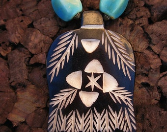 Ceramic and Wood Beaded Bone Pendant Necklace: Fjord