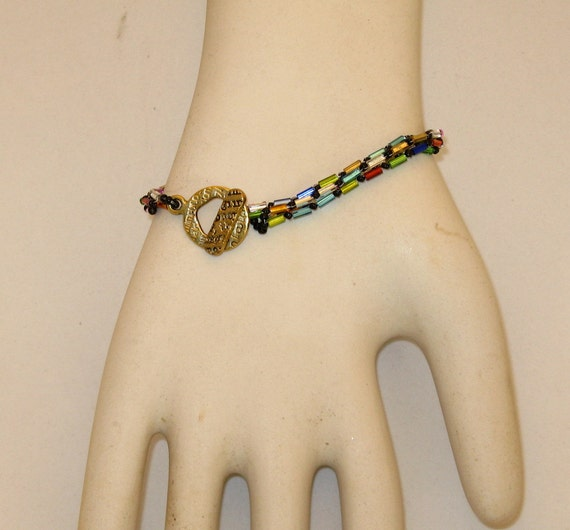 Beadwoven Rainbow Bracelet with Toggle Clasp stained glass bugle beads Mother Daughter