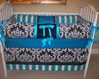Turquoise and Black Damask baby beedding