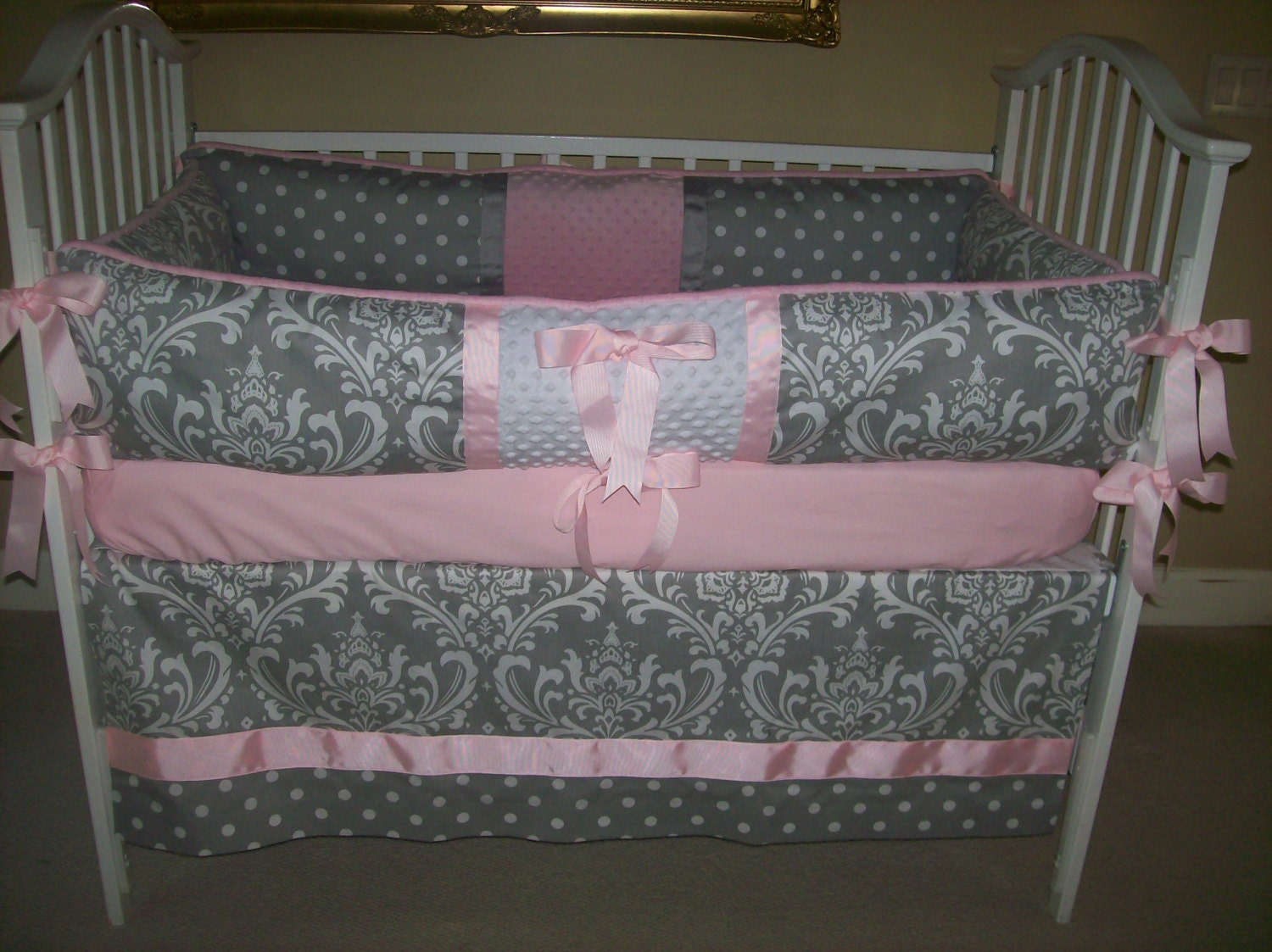 Pink And Grey Baby Bedding Damask And Dots 4 Piece Set