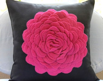 Decorative Throw Pillow Covers 20x20 Suede Pillow Cover Felt Embroidered Couch Sofa Toss Bed Pillow Cases Fuchsia Pink Pillows Hot Pink Rose