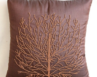 "Handmade Brown Pillows Cover, 16""x16"" Silk Pillows Cover, Square  Beade Orange Tree Pillows Cover - Woody Tree"