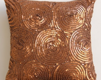 "Luxury Copper Pillows Cover, Spiral Sequins Antique Throw Pillows Cover Square  18""x18"" Silk Pillowcase - Copper Swirls"
