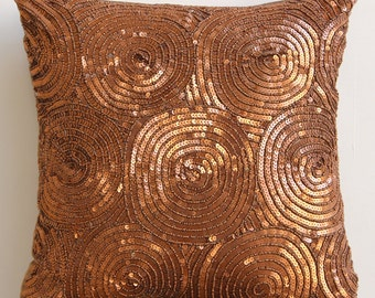 "Luxury Copper Pillows Cover, 16""x16"" Silk Pillowcase, Square  Spiral Sequins Antique Throw Pillows Cover - Copper Swirls"
