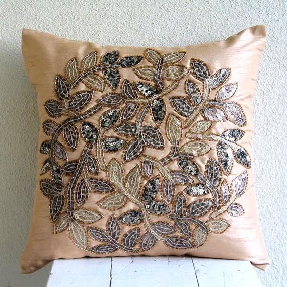 Thehomecentric Handmade Beige Pillow Covers 40x40 Silk Pillows Stunning Medallion Pillow Covers