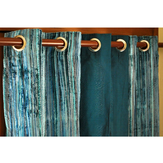 "Teal Velvet Pin Stripes And Peacock Green Silk Curtain Panels 26""x96 ..."