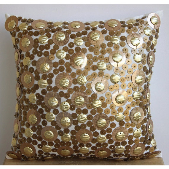 Decorative Pillows With Sequins : thehomecentric - Decorative Throw Pillow Covers 18x18 Inches Ivory Silk Throw PIllow Sequins ...
