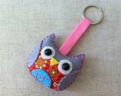 Gray Colorful Owl Plush Keychain No.4