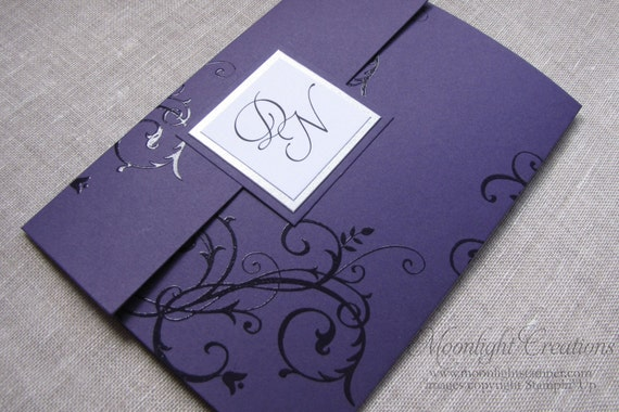 Silver And Purple Wedding Invitations: Purple And Silver Wedding Invites Pocketfold Monogrammed