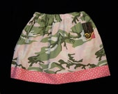 Girls Skirt Pink and Green Camouflage   Size 6 Years  hand made  ready to ship